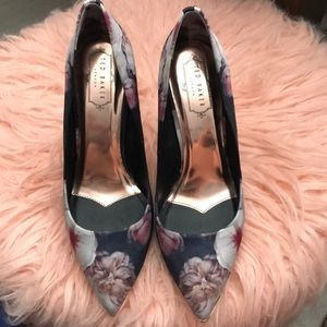 Ted Baker satin navy and flower print heels